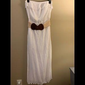 Long White Dress with Belt Size Large